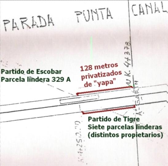 En este mapa del expediente de ONABE, se ve que hasta la calle Brasil (que divide los partidos) era KM4+250. Los 128 metros extras cubren la parte de Punta Querandí hasta el arroyo Garín (KM4+378)