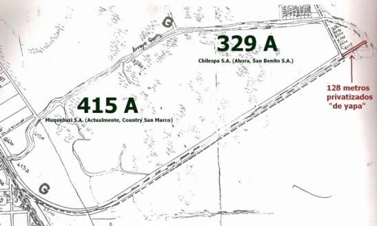 """Las dos parcelas linderas y los 128 metros de Punta Querandí, entregados """"de yapa"""" a los negociados inmobiliarios."""