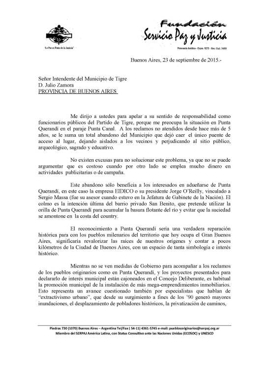 2015 - 09 Septiembre - 23 - Carta de Adolfo Pérez Esquivel al intendente de Tigre (página 1)