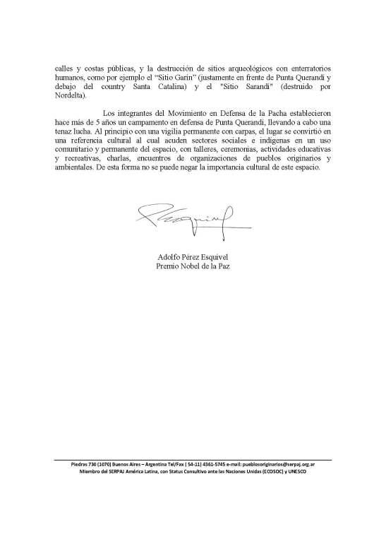 2015 - 09 Septiembre - 23 - Carta de Adolfo Pérez Esquivel al intendente de Tigre (página 2)