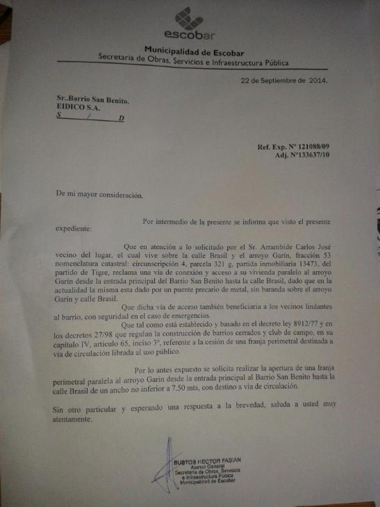 La última nota del Municipio de Escobar al barrio privado San Benito solicitando la apertura de la calle perimetral.