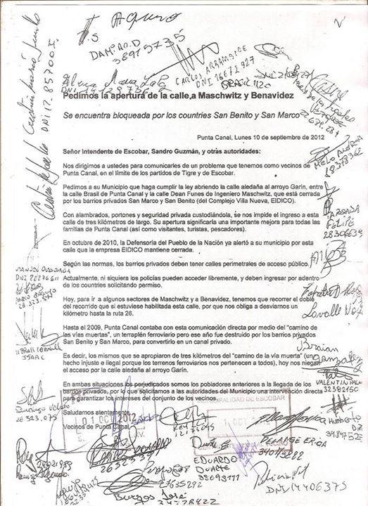 Nota de vecinos de Punta Canal al Municipio de Escobar reclamándole que haga abrir la calle perimetral.