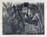REBUFFO, VICTOR (1903 - 1986) JUNQUEROS DEL DELTA - ATARDECER EN BARRACAS - PAIS