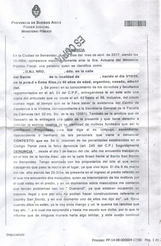 2017 - 04 Abril - 05 - Denuncia en la Fiscalia de Benavidez 01xx